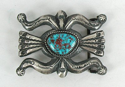 Authentic Navajo Sand Cast Sterling Silver And Turquoise
