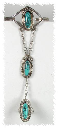 navajo yazzie slave bracelet turquoise and sterling silver