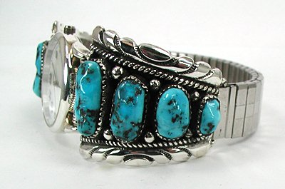 Native American Kingman Turquoise Mens Watch Tips Robert